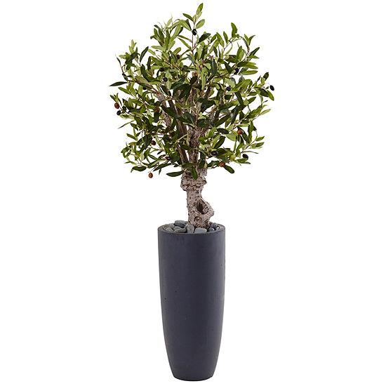 35 Olive Artificial Tree In Gray Cylinder Planter