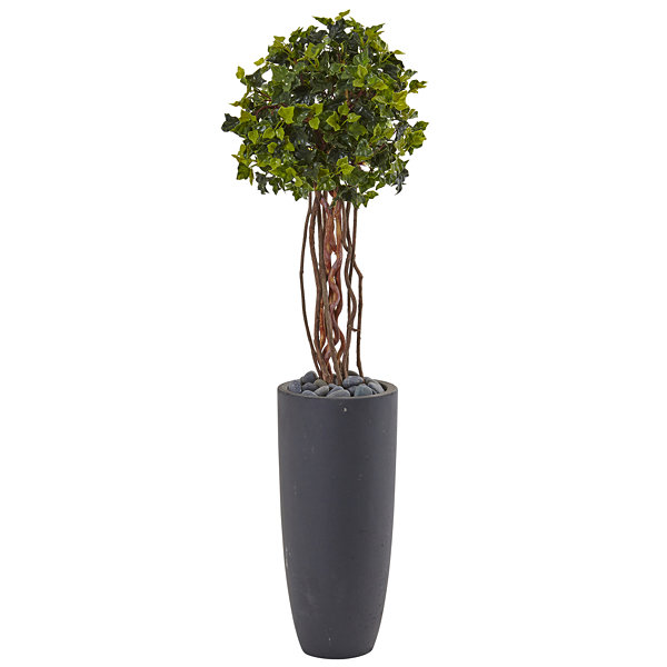 3.5' English Ivy Artificial Tree in Gray Cylinder Planter; UV Resistant (Indoor/Outdoor)