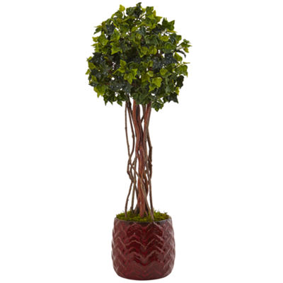 2.5' English Ivy Artificial Tree in Red Planter;UV Resistant (Indoor/Outdoor)