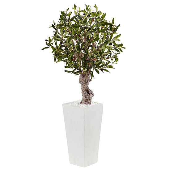 35 Olive Artificial Tree In White Tower Planter