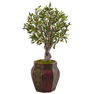 3' Olive Artificial Tree in Weave Panel Planter