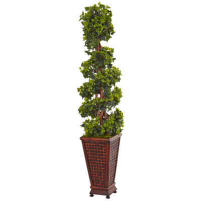 4.5' English Ivy Artificial Tree in Decorative Wood Planter