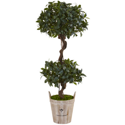 4.5' Sweet Bay Double Topiary Artificial Tree inFarmhouse Planter