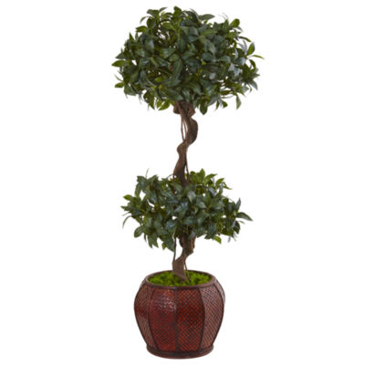 4.5' Sweet Bay Double Topiary Artificial Tree in Round Wood Planter