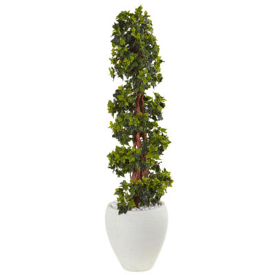 4' English Ivy Topiary Artificial Tree in White Oval Planter; UV Resistant (Indoor/Outdoor)