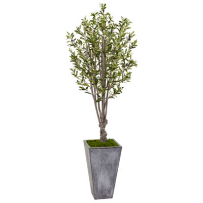 6' Olive Artificial Tree in Stone Planter