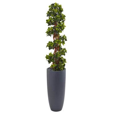 5' English Ivy Spiral Topiary Artificial Tree inGray Cylinder Planter UV Resistant (Indoor/Outdoor)