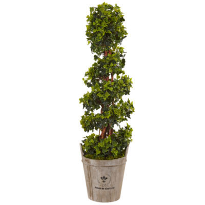 4' English Ivy Artificial Tree in Farmhouse Planter; UV Resistant (Indoor/Outdoor)