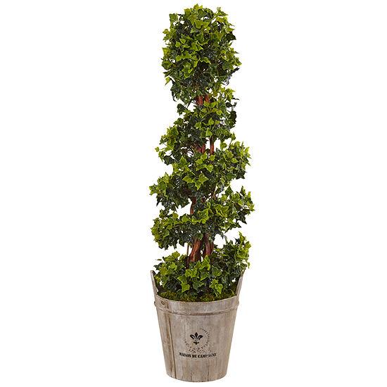 4 English Ivy Artificial Tree In Farmhouse Planter Uv Resistant Indoor Outdoor