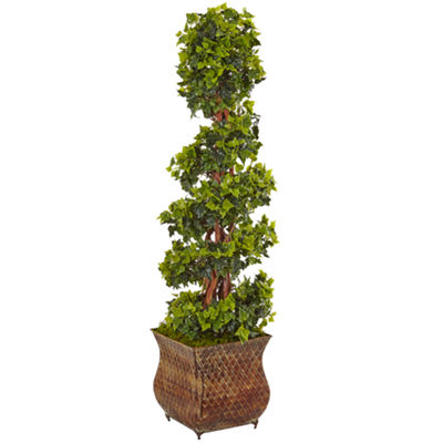 4' English Ivy Spiral Artificial Tree in Metal Planter; UV Resistant (Indoor/Outdoor)