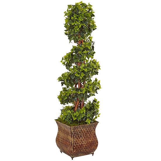 4' English Ivy Spiral Artificial Tree in Metal Planter; UV Resistant (Indoor/Outdoor)