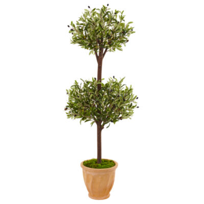 4.5' Olive Topiary Artificial Tree in Terracotta Pot