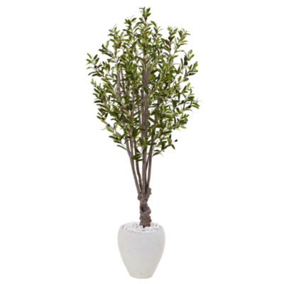 5' Olive Artificial Tree in White Oval Planter