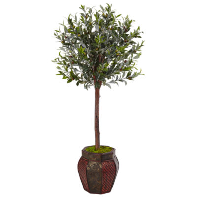 4.5' Olive Topiary Artificial Tree in Weave Panel Planter