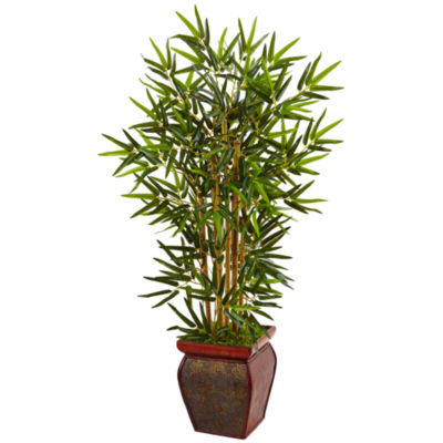 3.5' Bamboo Artificial Tree in Wooden Decorative Planter