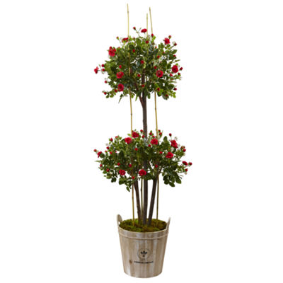 5.5' Rose Topiary Artificial Tree with Farmhouse Planter