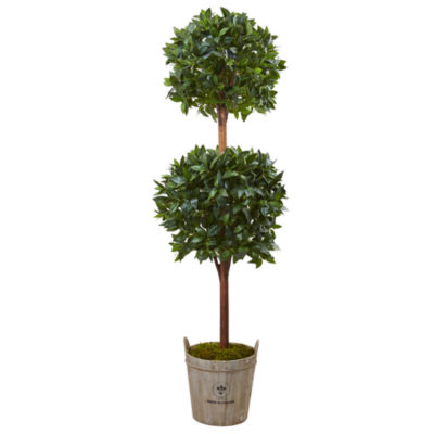6' Double Ball Topiary Artificial Tree with European Barrel Planter
