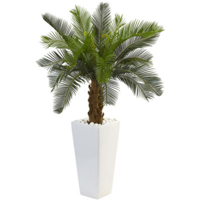 3' Cycas Artificial Tree in White Tower Planter