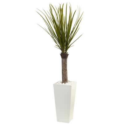 4' Yucca Artificial Tree in White Tower Planter
