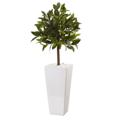 3' Sweet Bay Artificial Tree in White Tower Planter