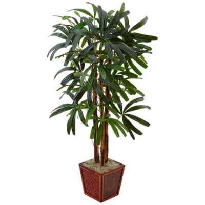 5' Raphis Palm Artificial Tree in Bamboo Planter
