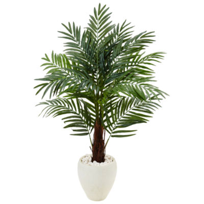 4.5' Areca Palm Artificial Tree in White Oval Planter