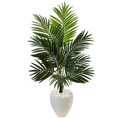 4.5' Kentia Palm Artificial Tree in White Oval Planter