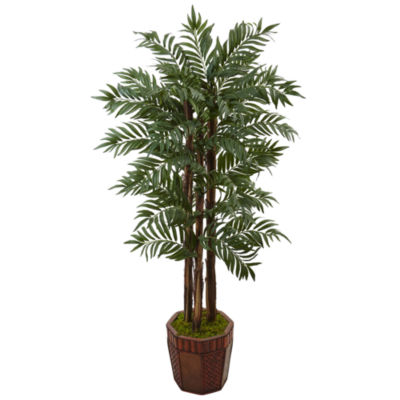 4.5' Parlour Palm Artificial Tree in Bamboo Planter