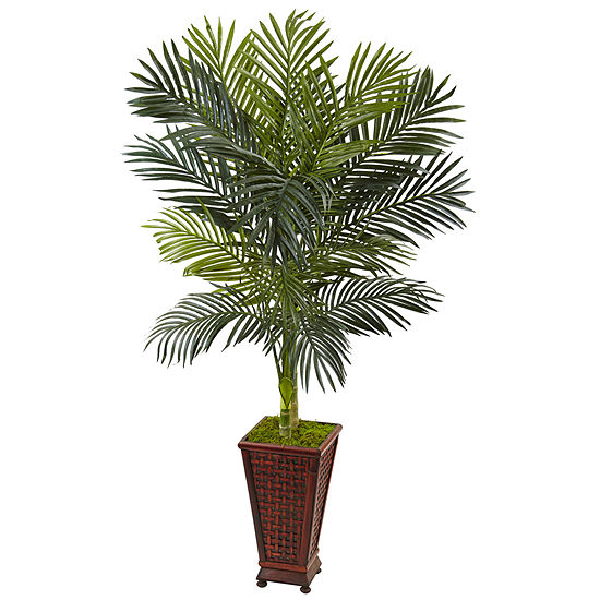 5 Golden Cane Palm Artificial Tree In Decorative Planter