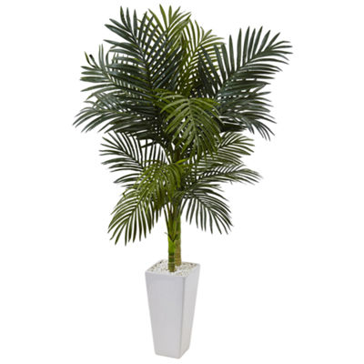 5' Golden Cane Palm Artificial Tree in White Tower Planter
