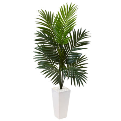 4.5' Kentia Palm Artificial Tree in White TowerPlanter