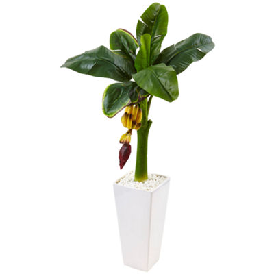 3.5' Banana Artificial Tree in White Tower Vase