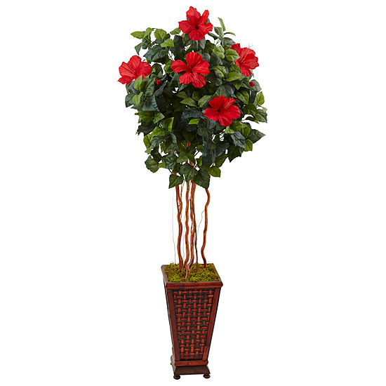 5' Hibiscus Artificial Tree in Decorated WoodenPlanter