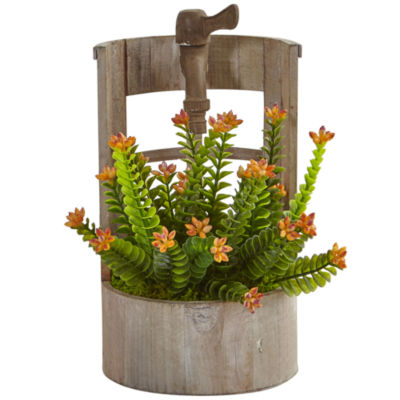 Sedum Artificial Plant in Wooden Garden Planter
