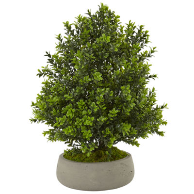 Boxwood Artificial Plant in Stone Planter (Indoor/Outdoor)