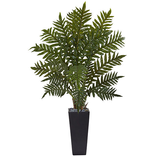4.5' Evergreen Artificial Plant in Black Planter