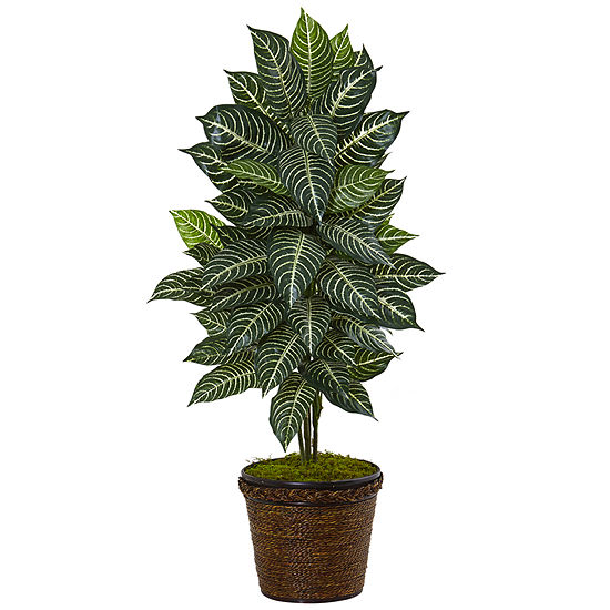 4' Zebra Artificial Plant in Coiled Rope Planter