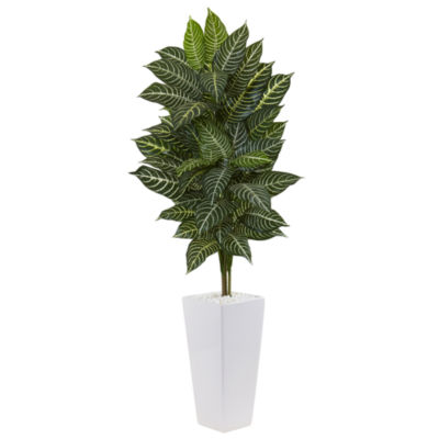 4' Zebra Artificial Plant in White Tower Planter