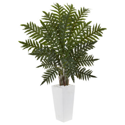 4.5' Evergreen Artificial Plant in White Tower Planter