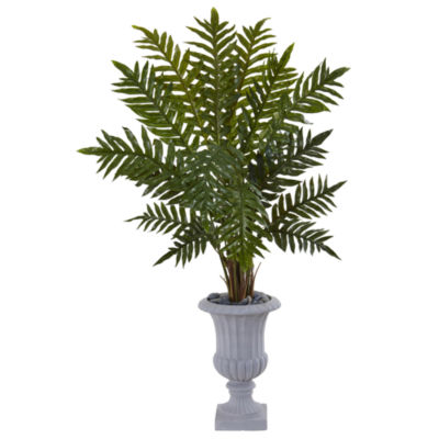 4.5' Evergreen Artificial Plant in Gray Urn