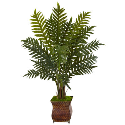 4' Evergreen Plant in Metal Planter