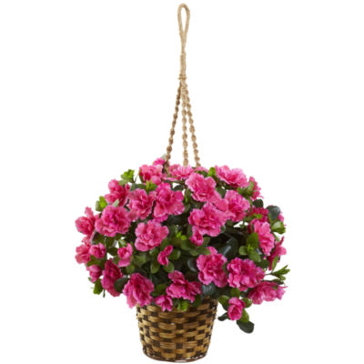 Azalea Flowering Silk Hanging Basket