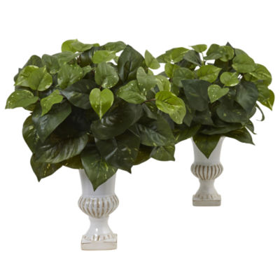 "Pothos 15""H Silk Plants with Urn (Set of 2)"""