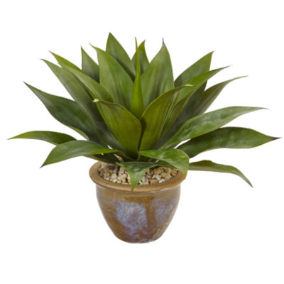 Agave Artificial Plant in Glazed Clay Pot
