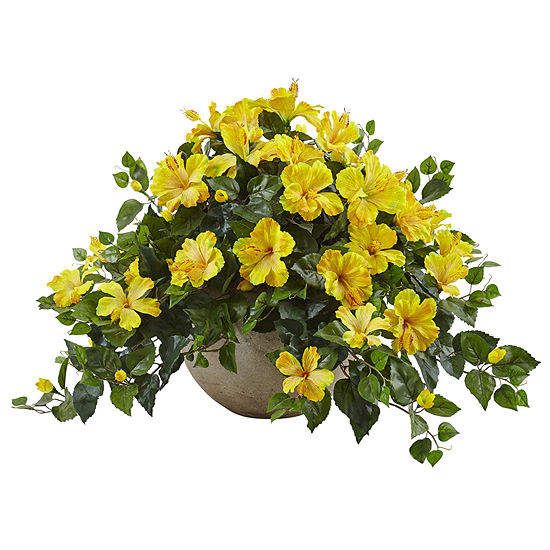 Hibiscus Flowering Artificial Plant In Sand Colored Bowl