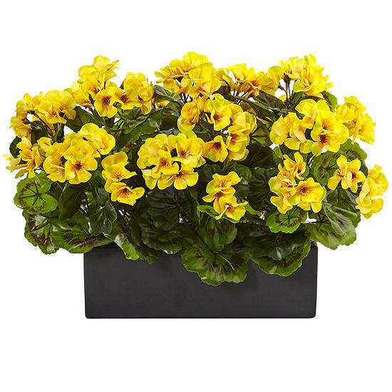 Geranium Silk Plant in Rectangular Planter UV Resistant (Indoor/Outdoor)