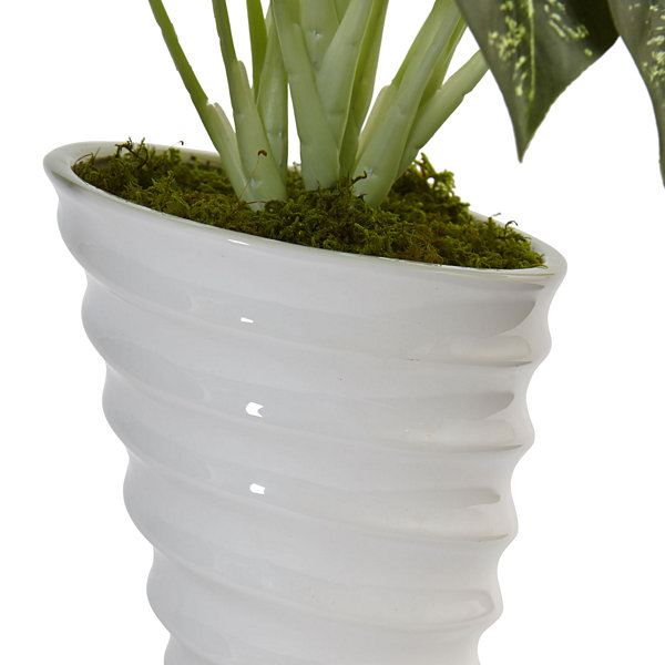 Dieffenbachia Artificial Plant in Swirl Ceramic Planter