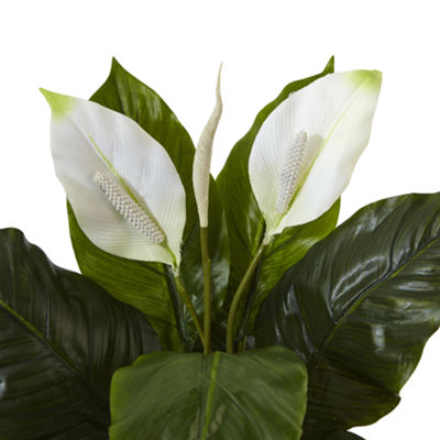 Spathiphyllum Artificial Flowering Peace Lily in Glossy Glass Planter