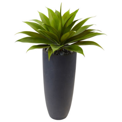 "38""H Agave Artificial Plant in Gray Cylinder Planter"""