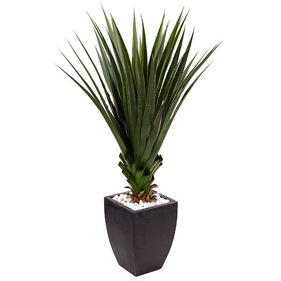 4.5' Spiked Agave Artificial Plant in Black Planter (Indoor/Outdoor)